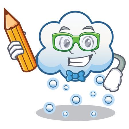 Student snow cloud character cartoon