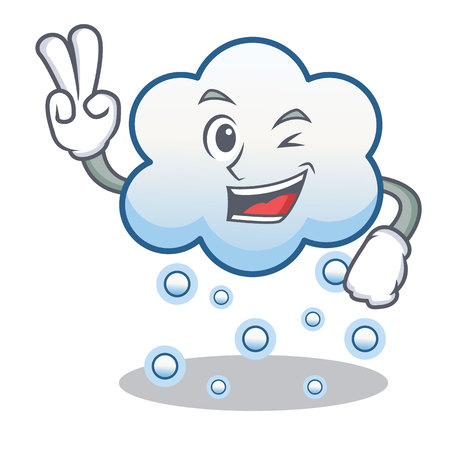 Two finger snow cloud character cartoon Illustration
