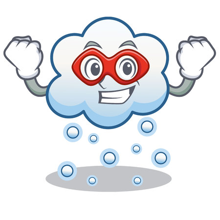 Super hero snow cloud character cartoon