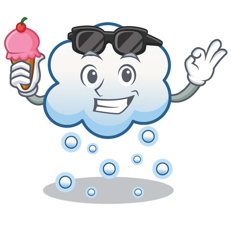 With ice cream snow cloud character cartoon