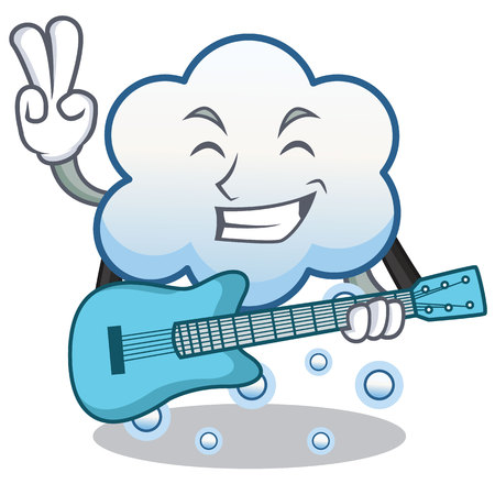 With guitar snow cloud cartoon character.