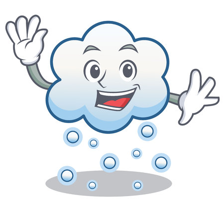 Waving snow cloud character cartoon vector illustration
