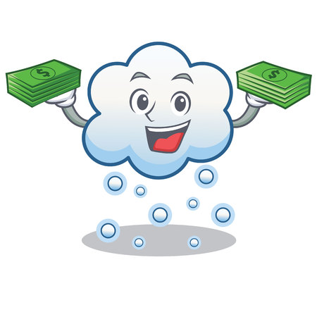 Snow cloud with money character cartoon vector illustration