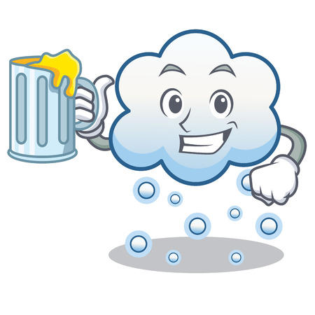 With juice snow cloud character cartoon vector illustration