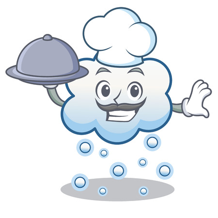 Chef with food, snow cloud character cartoon vector illustration