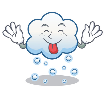 Tongue out snow cloud character cartoon vector illustration