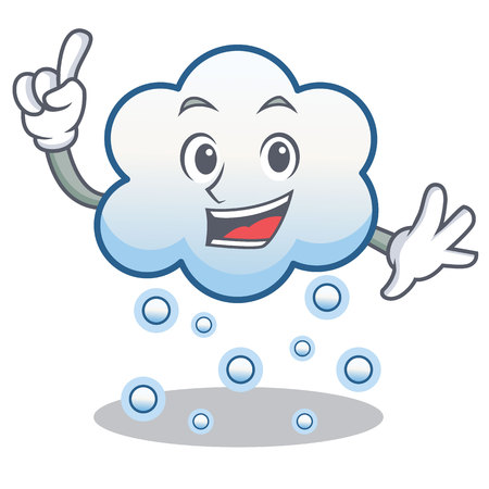 Finger snow cloud character, cartoon vector illustration