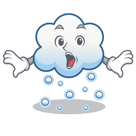 Surprised snow cloud character cartoon vector illustration Illustration