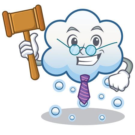 Judge snow cloud character, cartoon vector illustration