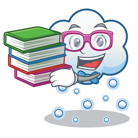 Student with book snow cloud character, cartoon vector illustration