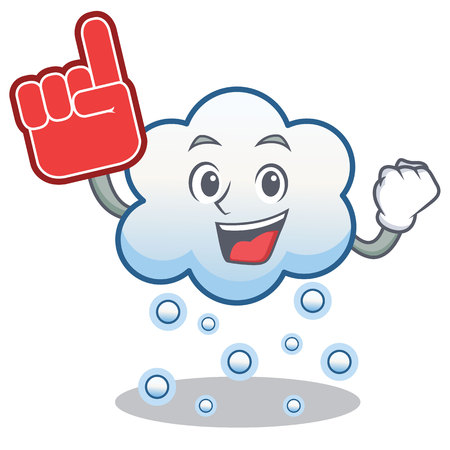 Foam finger snow cloud character cartoon vector illustration