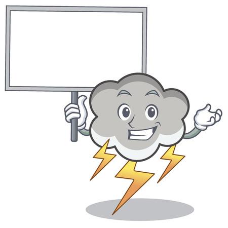Bring board thunder cloud character cartoon vector illustration