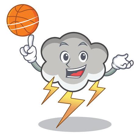 With basketball thunder cloud character cartoon vector illustration Illustration