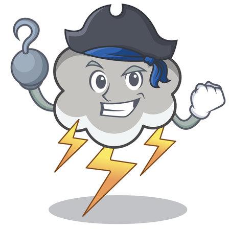 Pirate thunder cloud character cartoon vector illustration Illustration