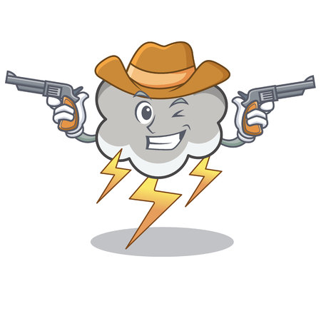 Cowboy thunder cloud character cartoon with pistols vector illustration