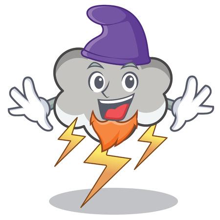 Elf thunder cloud cartoon character. Illustration
