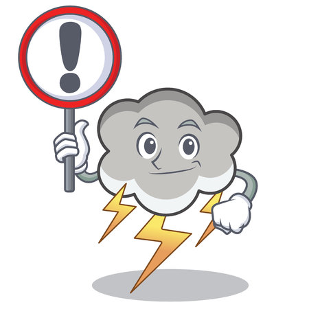 With sign thunder cloud character cartoon vector illustration