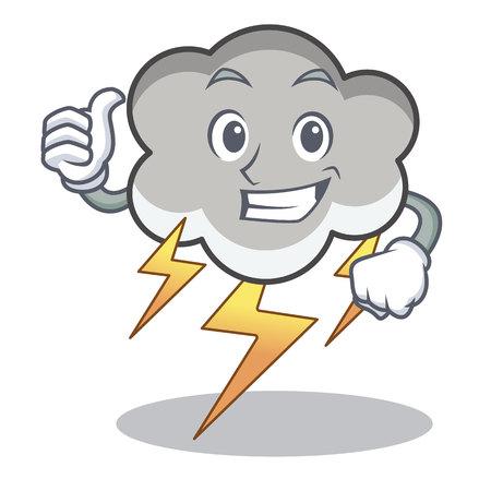 Thumbs up thunder cloud character cartoon vector illustration Illustration