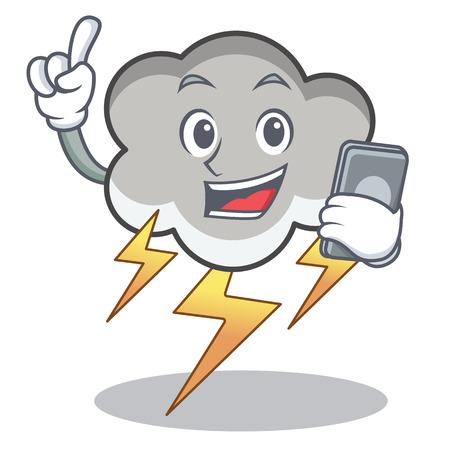 With phone thunder cloud character cartoon vector illustration