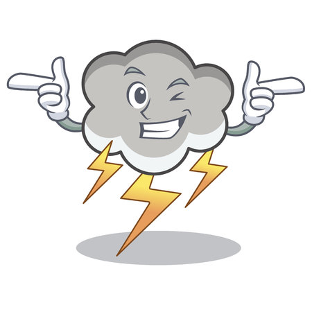 Wink thunder cloud character cartoon vector illustration