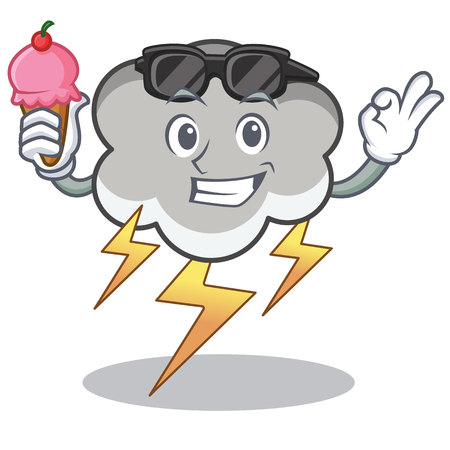 With ice cream thunder cloud character cartoon vector illustration Illustration