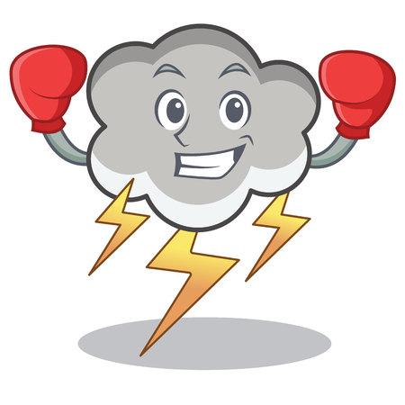Boxing thunder cloud cartoon character.