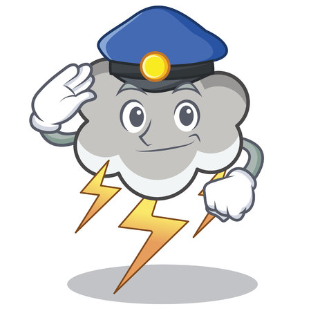 Police thunder cloud character cartoon Illustration