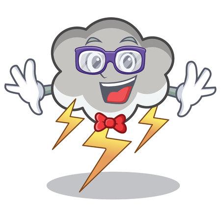 Geek thunder cloud character cartoon vector illustration