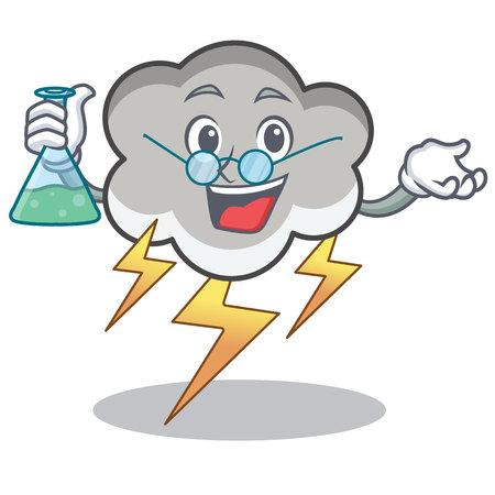 Professor thunder cloud character cartoon vector illustration