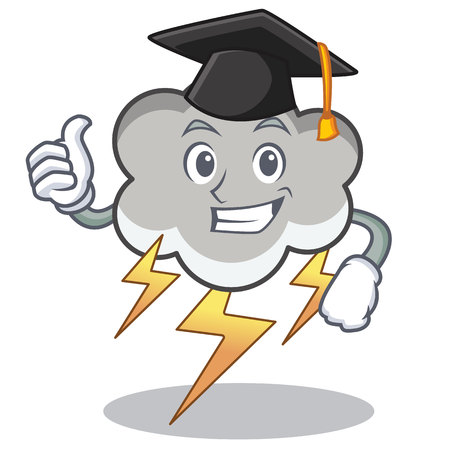 Graduation thunder cloud character cartoon vector illustration