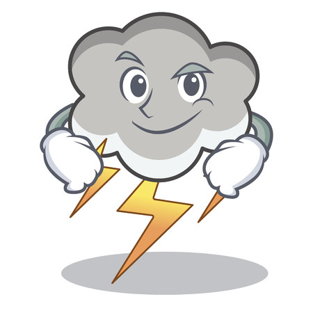 Smirking thunder cloud character cartoon