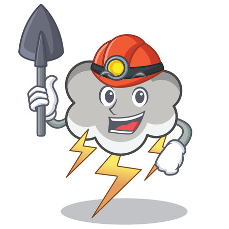 Miner thunder cloud character cartoon