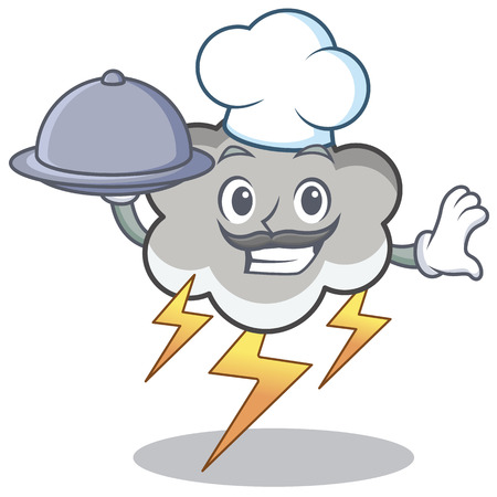 Chef with food thunder cloud character cartoon Illustration