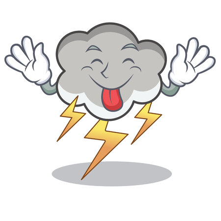 Tongue out thunder cloud character cartoon 矢量图像