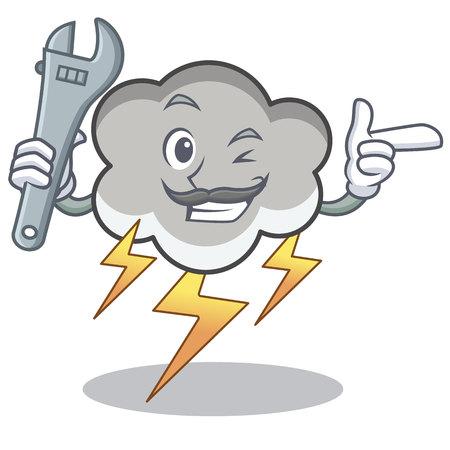 Mechanic thunder cloud character cartoon