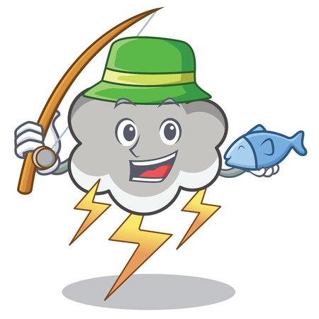 Fishing thunder cloud character cartoon