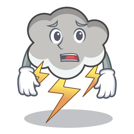 Afraid thunder cloud character cartoon