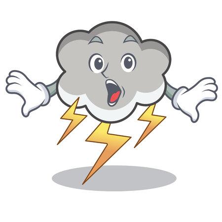 Surprised thunder cloud character cartoon Illustration