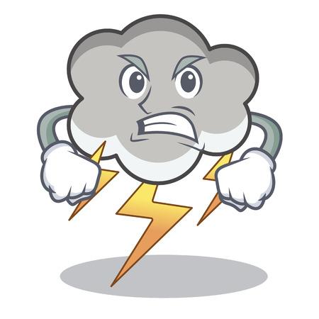 Angry thunder cloud character, cartoon vector illustration
