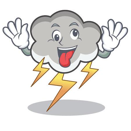 Crazy thunder cloud character cartoon