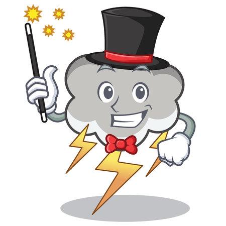 Magician thunder cloud character cartoon Illustration