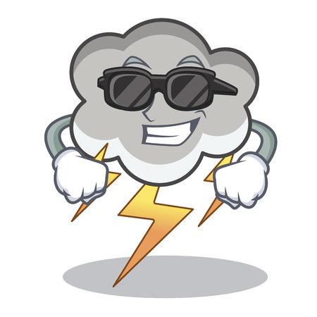 Super cool thunder cloud cartoon character illustration.