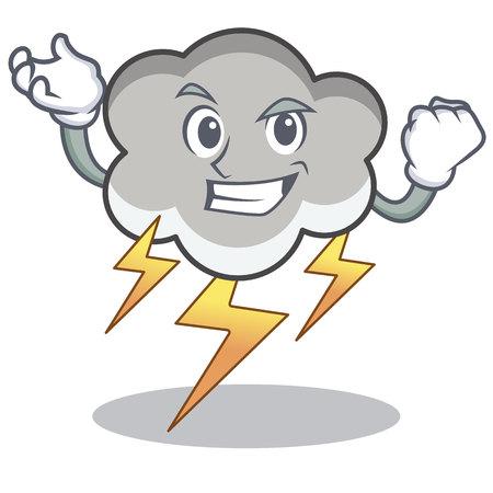 Successful thunder cloud cartoon character illustration.