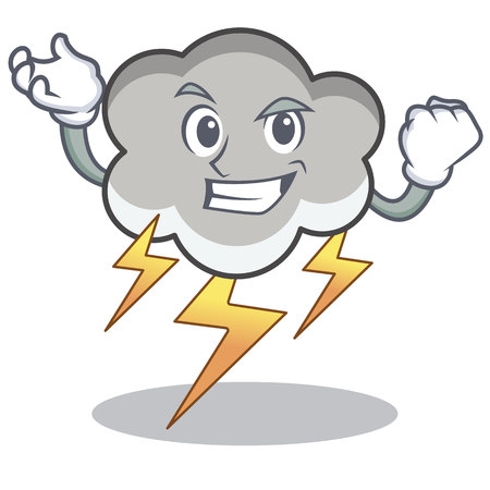 Successful thunder cloud cartoon character illustration.