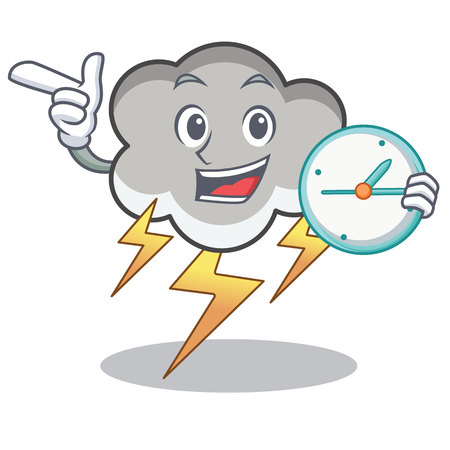 With clock thunder cloud character cartoon