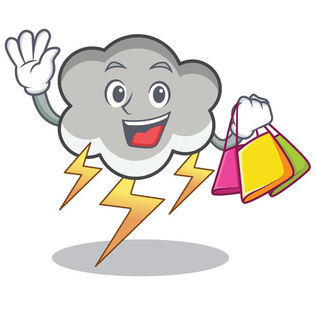 Shopping thunder cloud character cartoon Stock Photo
