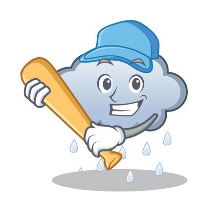 Playing baseball rain cloud character cartoon vector illustration Illustration