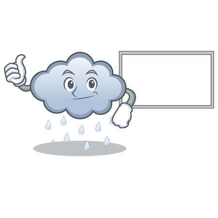 Thumbs up with board rain cloud character cartoon vector illustration