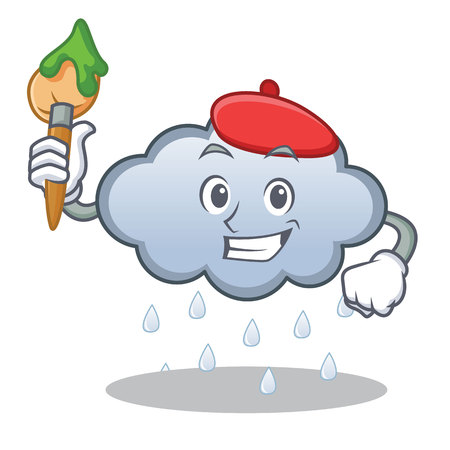 Artist rain cloud character cartoon vector illustration