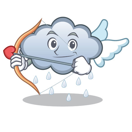 Cupid rain cloud character cartoon vector illustration Illustration